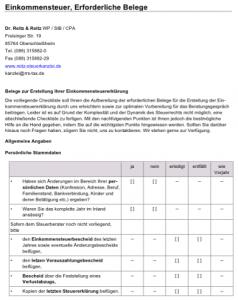 Checkliste Einkommensteuererklärung