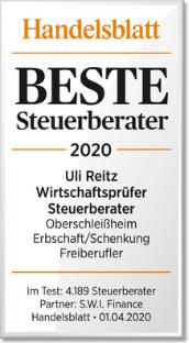 Beste Steuerberater 2020 Uli Reitz Wirtschaftsprüfer Steuerberater CPA Fachberater für Unternehmensnachfolge (DStV e.V.)